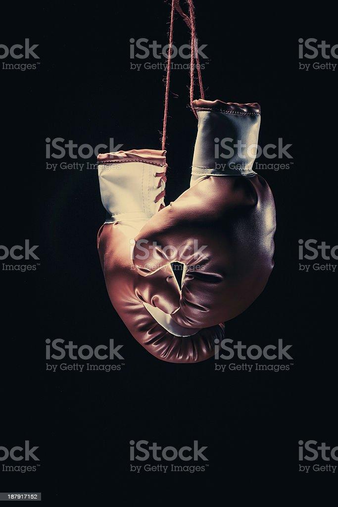 Boxing gloves on black stock photo