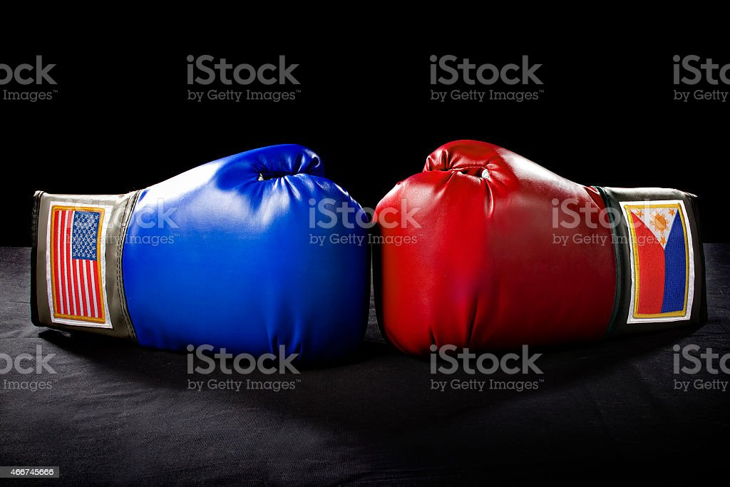 Boxing Gloves with American and Filipino Flags stock photo
