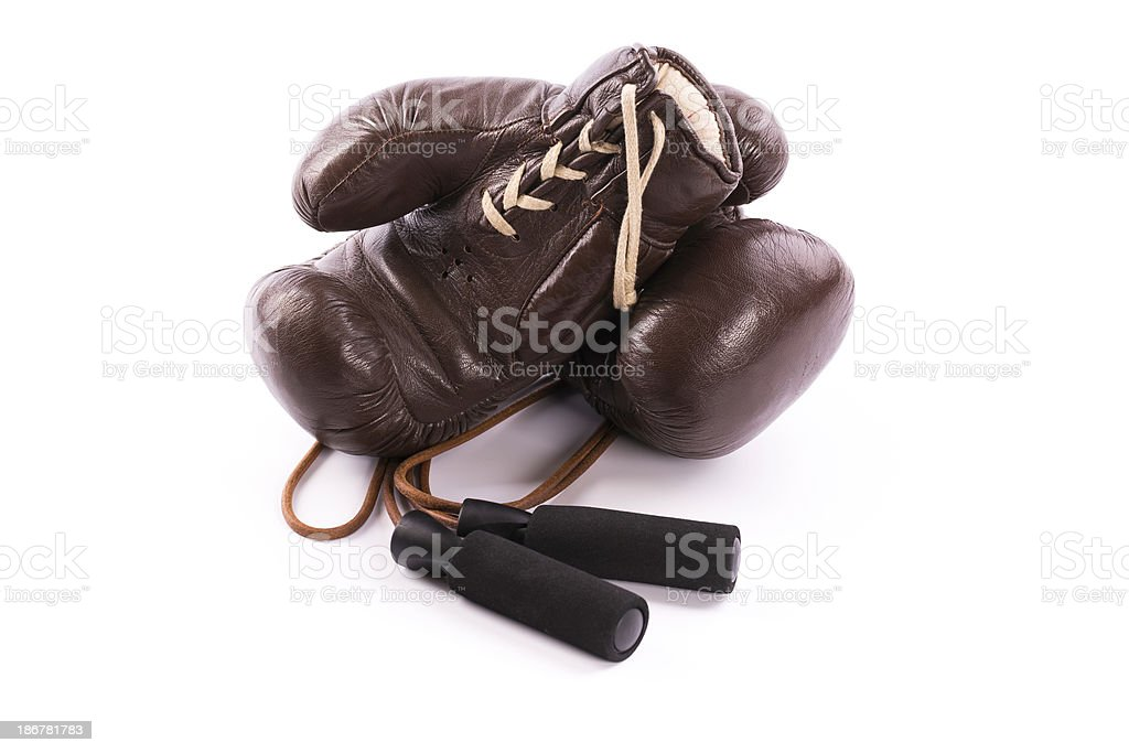 boxing gloves with jump rope royalty-free stock photo