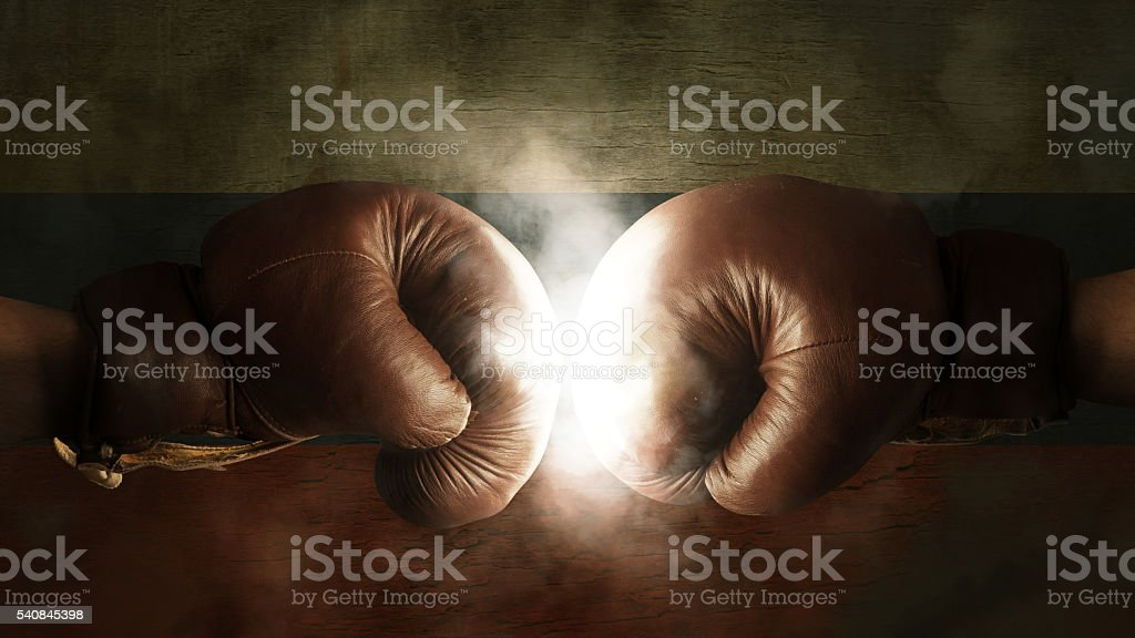 Boxing Gloves with the Flag of Russia stock photo