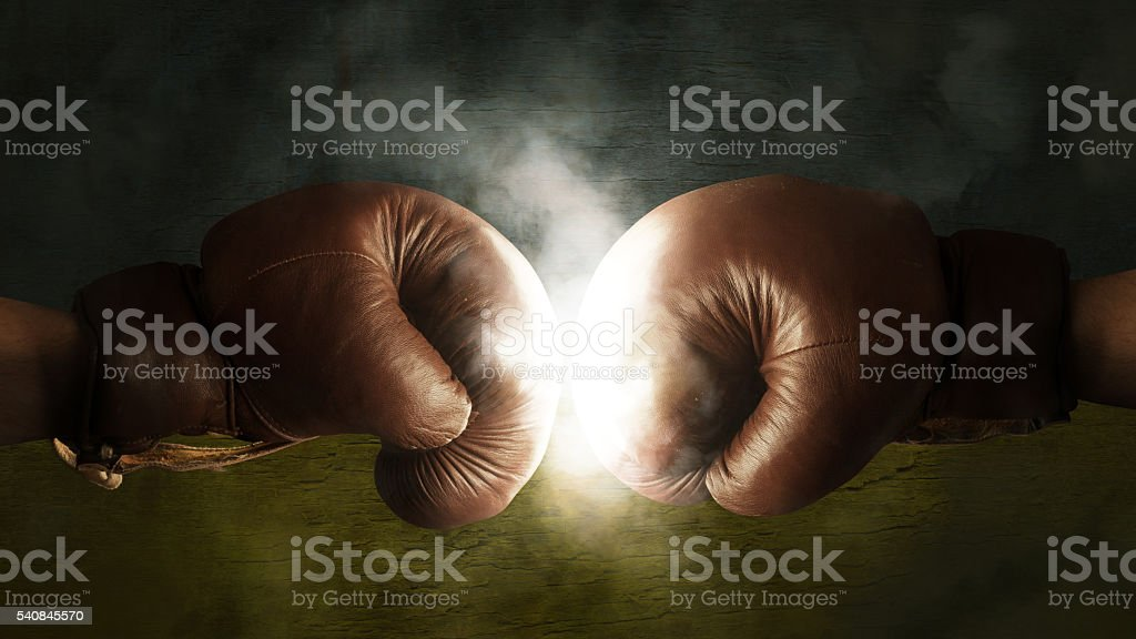 Boxing Gloves with the Flag of the Ukraine stock photo