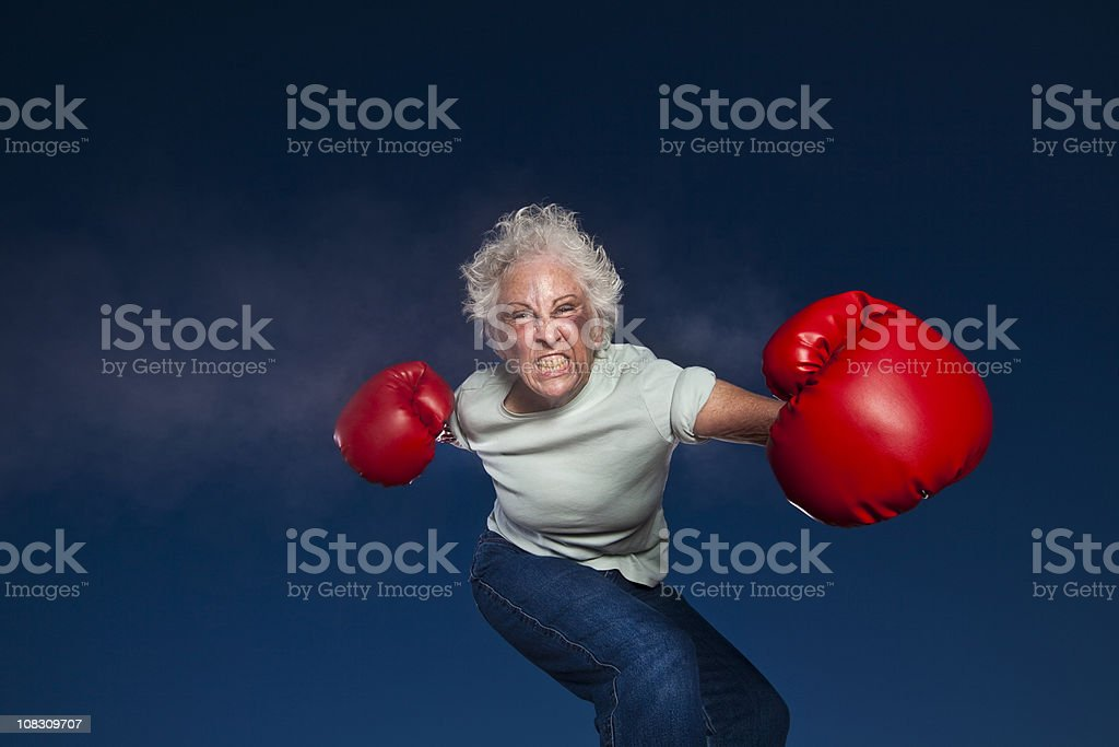 Boxing Grandmother stock photo
