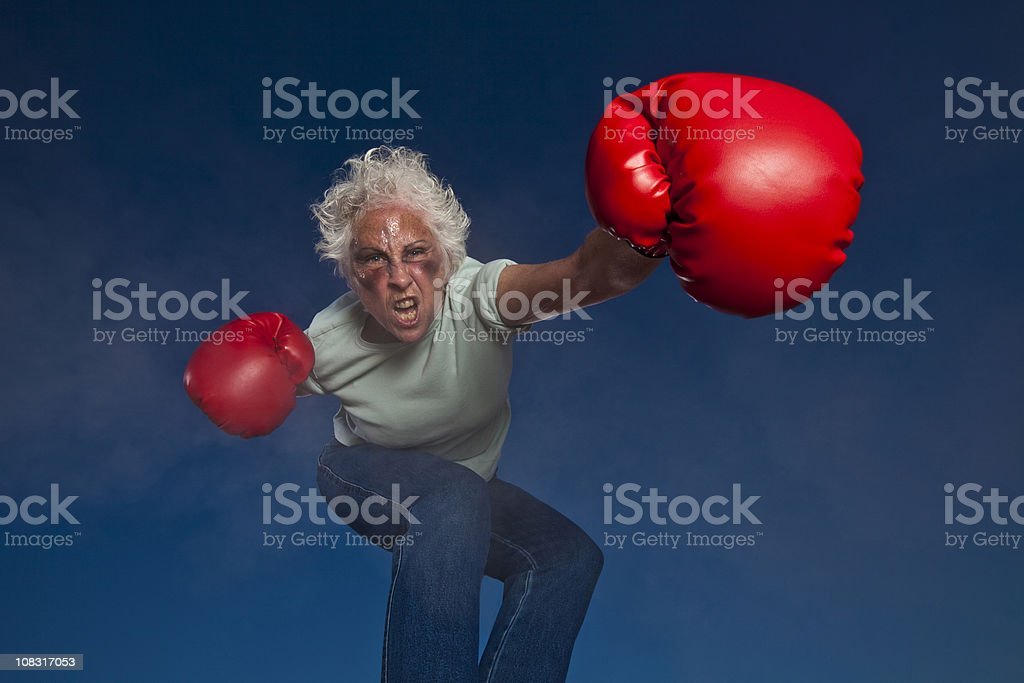 Boxing Grandmother royalty-free stock photo