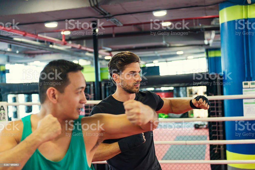 Boxing lesson fitness stock photo
