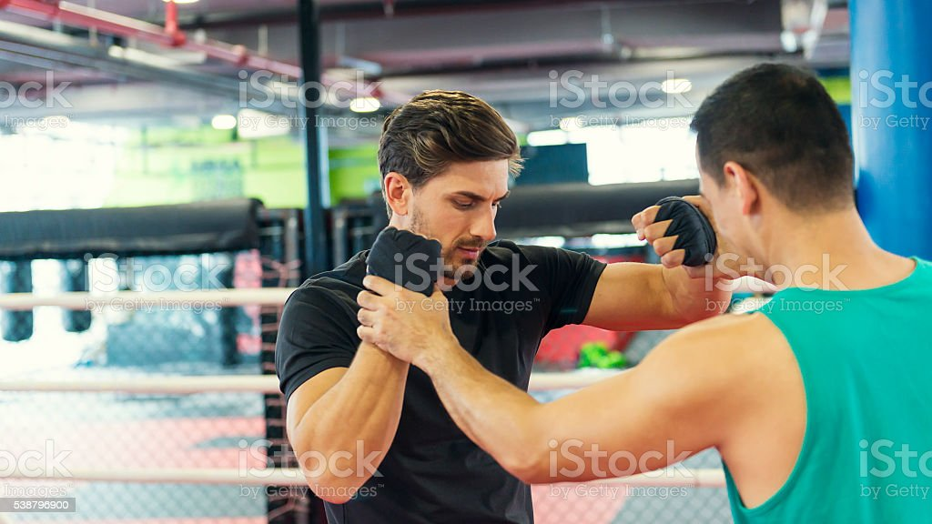 Boxing lesson stock photo