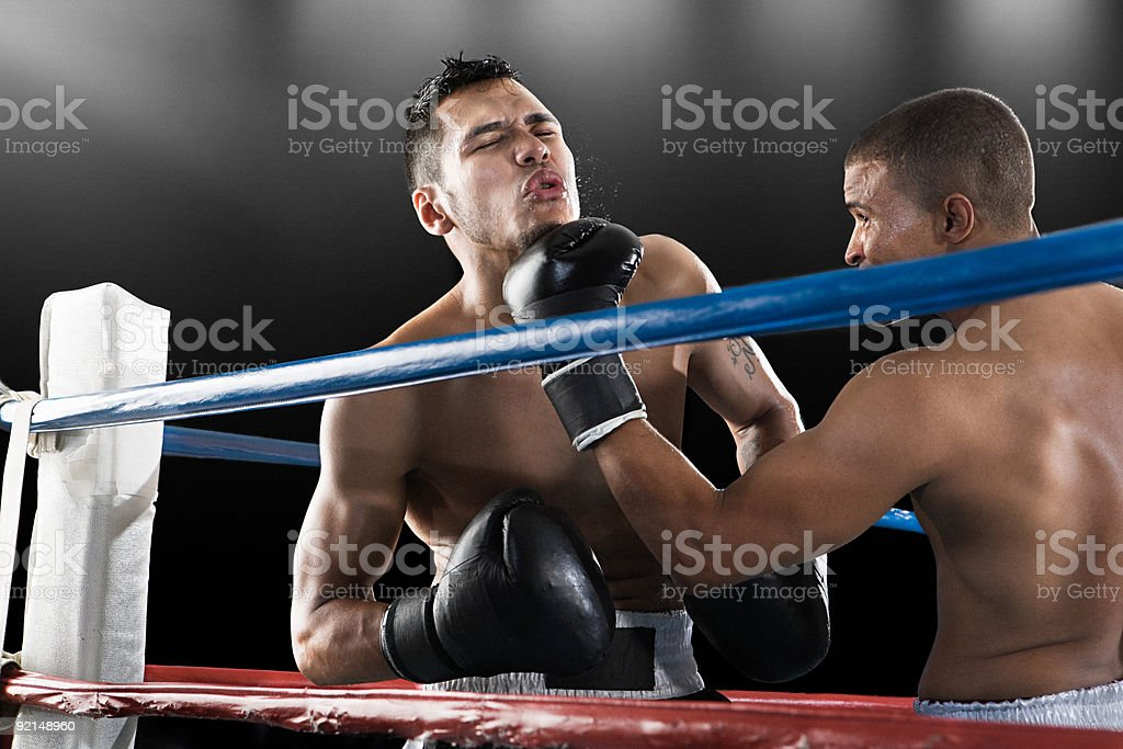 Boxing match in action royalty-free stock photo