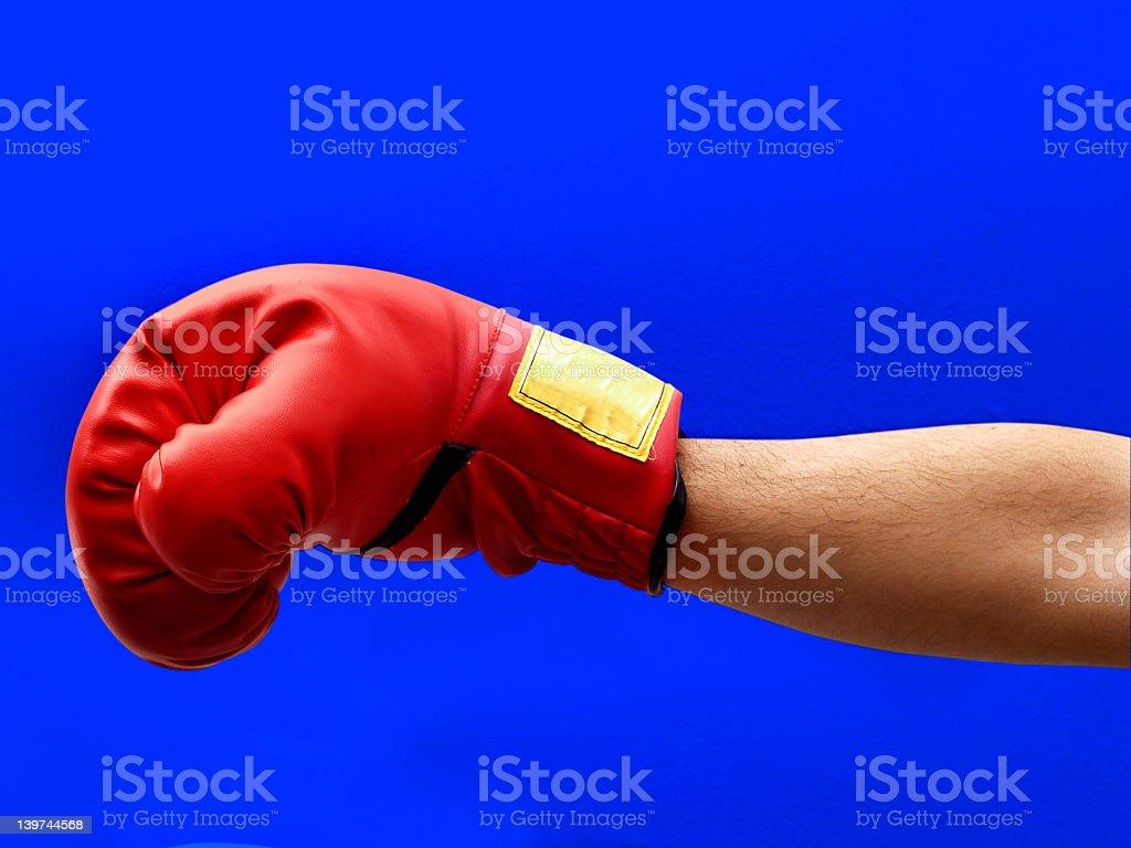 Boxing on Blue stock photo