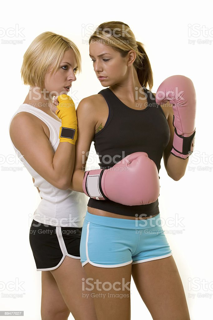 Boxing opponents stock photo