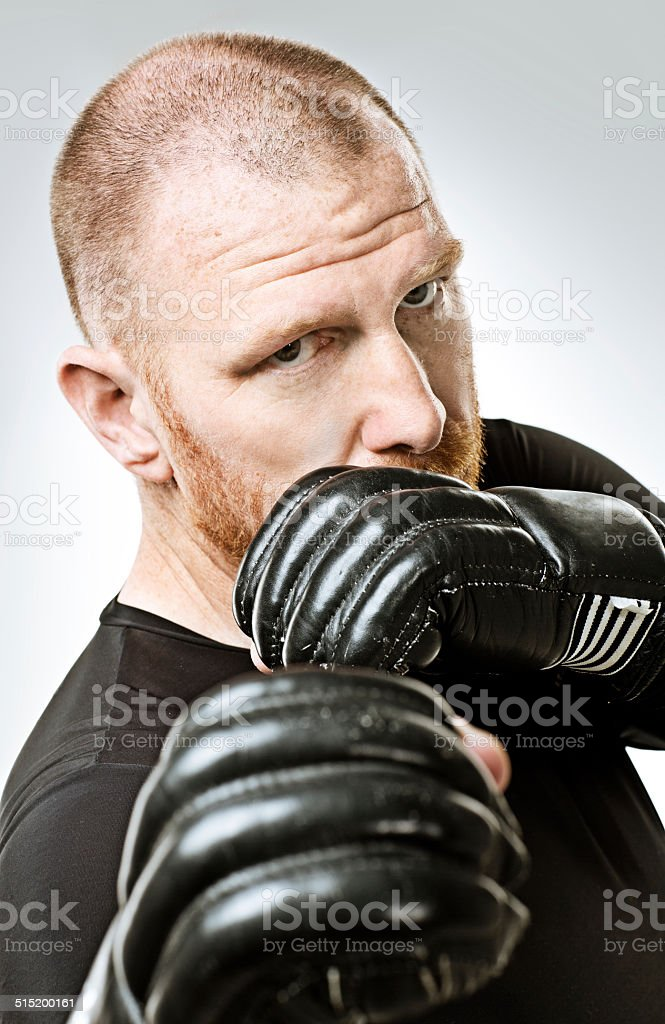 boxing red hair man stock photo