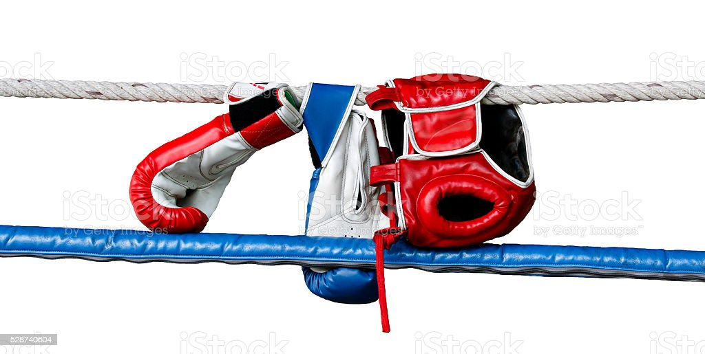 Boxing Ring and Boxing Gloves stock photo