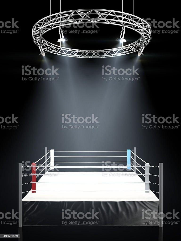 Boxing ring in dark stock photo
