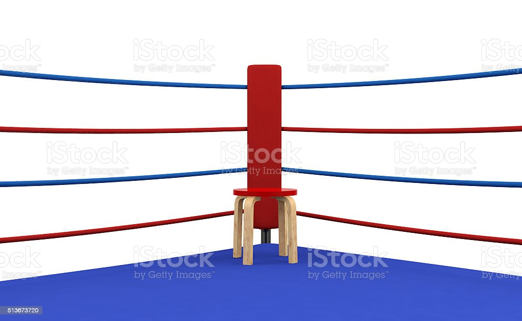 Boxing ring red corner with chair stock photo