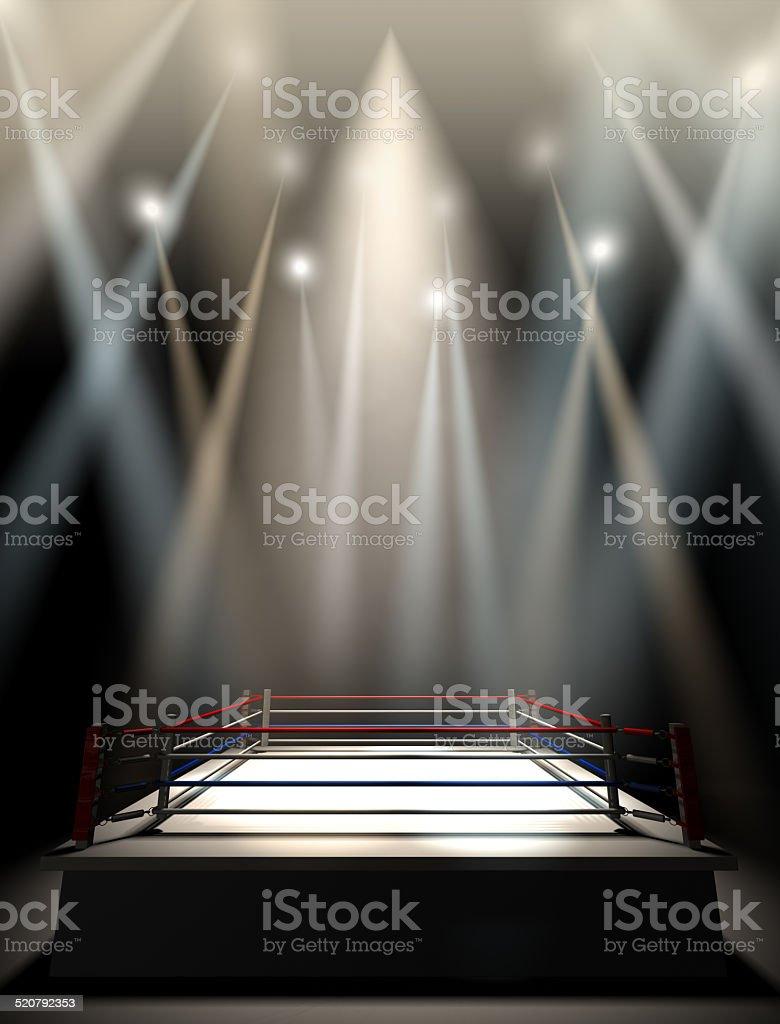 Boxing Ring Spotlit Dark stock photo