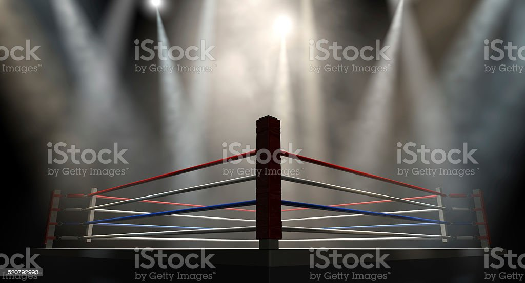Boxing Ring Spotlit Dark stock photo