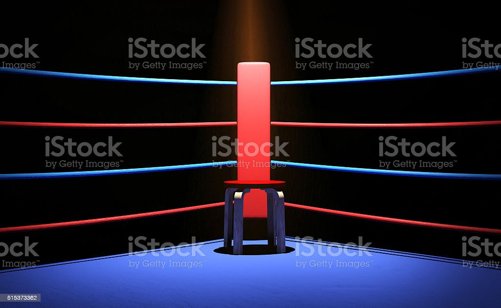 Boxing ring with chair at the corner stock photo