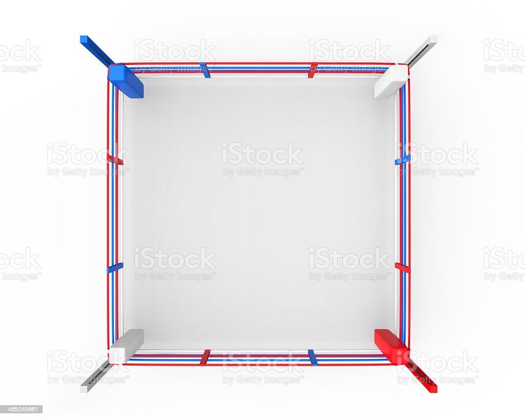 Boxing ring with colors of red, white, and blue stock photo