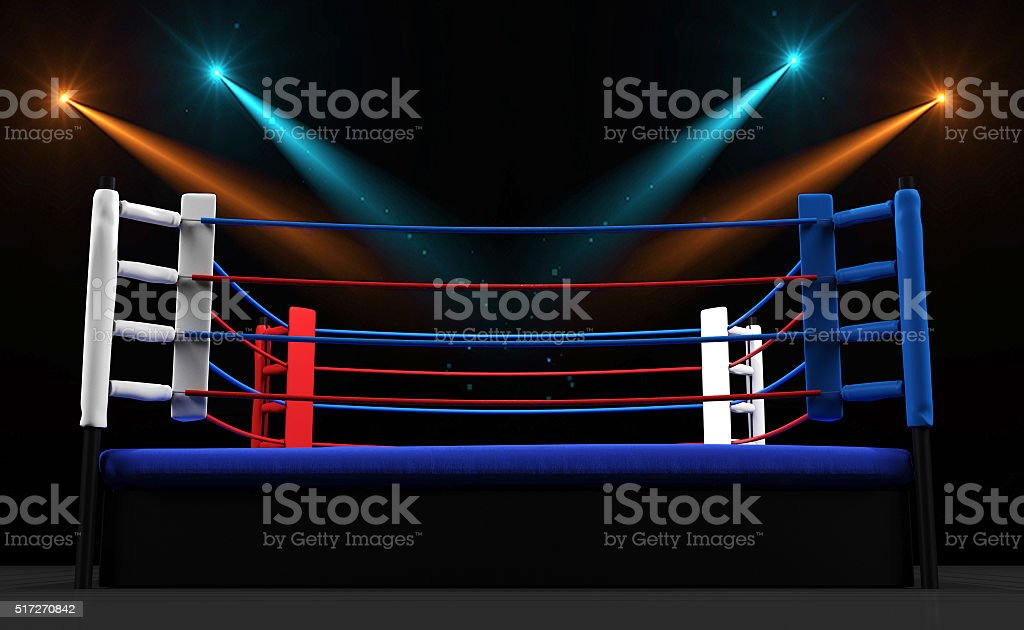 Boxing ring with spotlight isolated on dark background stock photo
