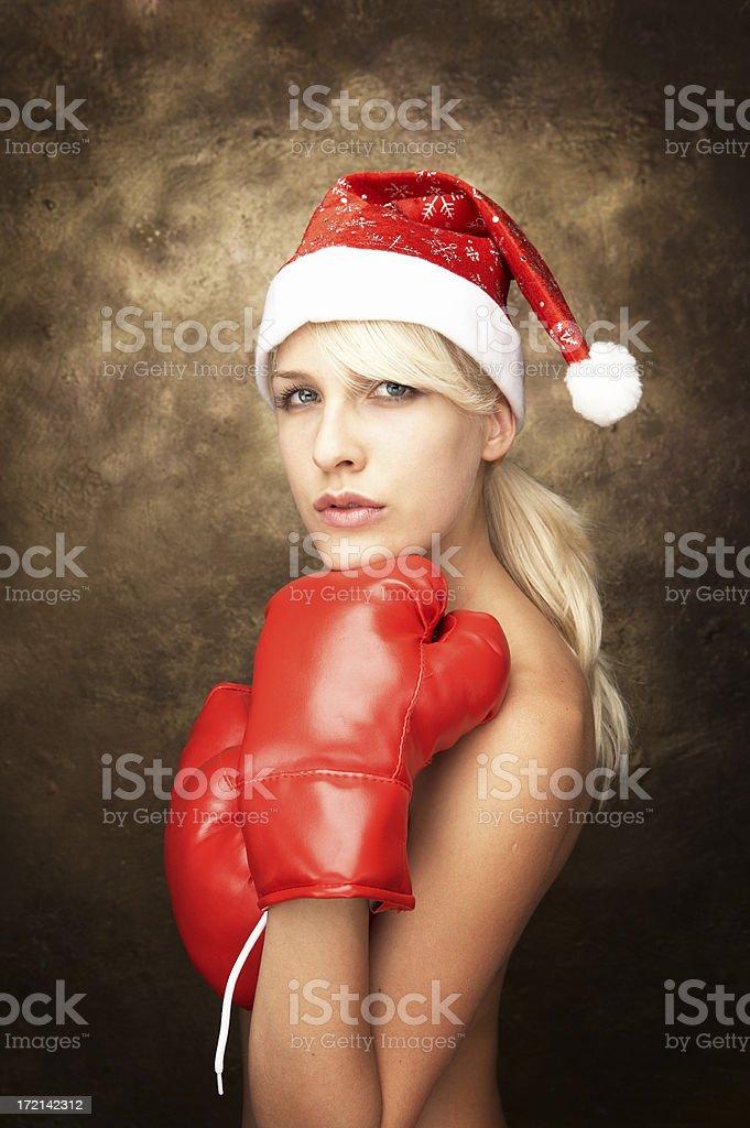 Boxing Santa royalty-free stock photo
