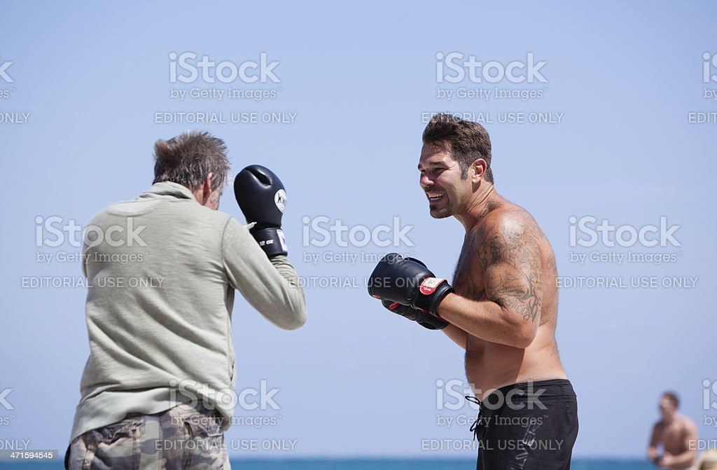 Boxing sparring on the Hollywood Beach, Miami, Florida. royalty-free stock photo