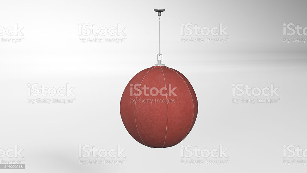 Boxing speed ball, punching bag, sports equipment isolated on white stock photo