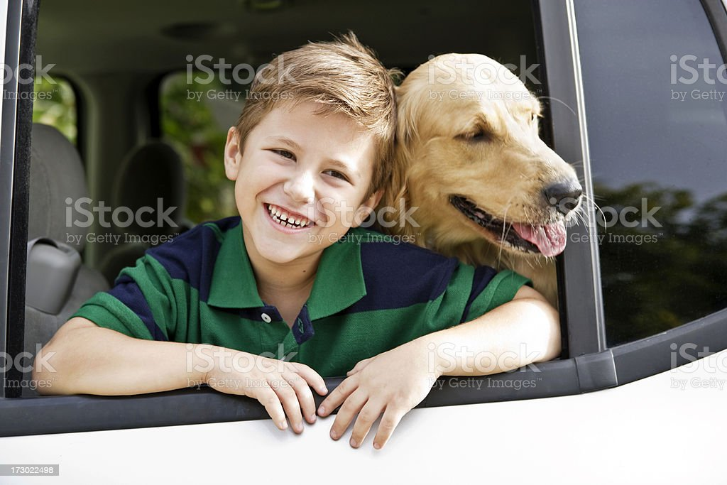 Boy & His Dog royalty-free stock photo