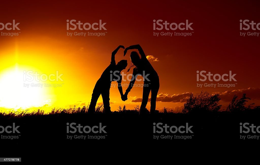 boy and a girl, a declaration of love stock photo