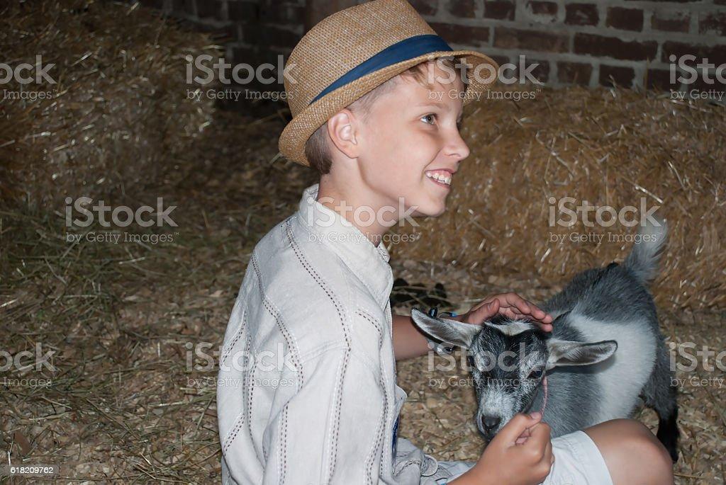 Boy and a goatling, Illinois, USA stock photo