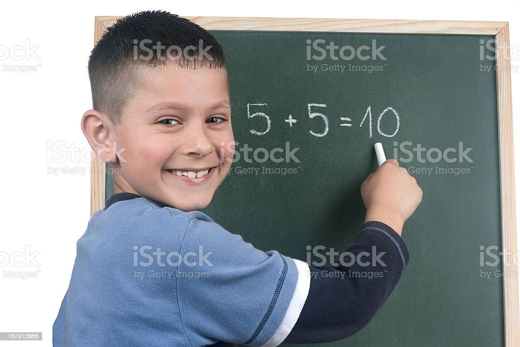 Boy and blackboard royalty-free stock photo