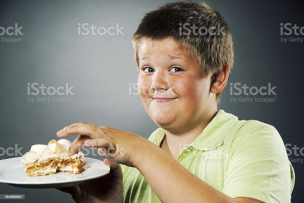 Boy and cake stock photo