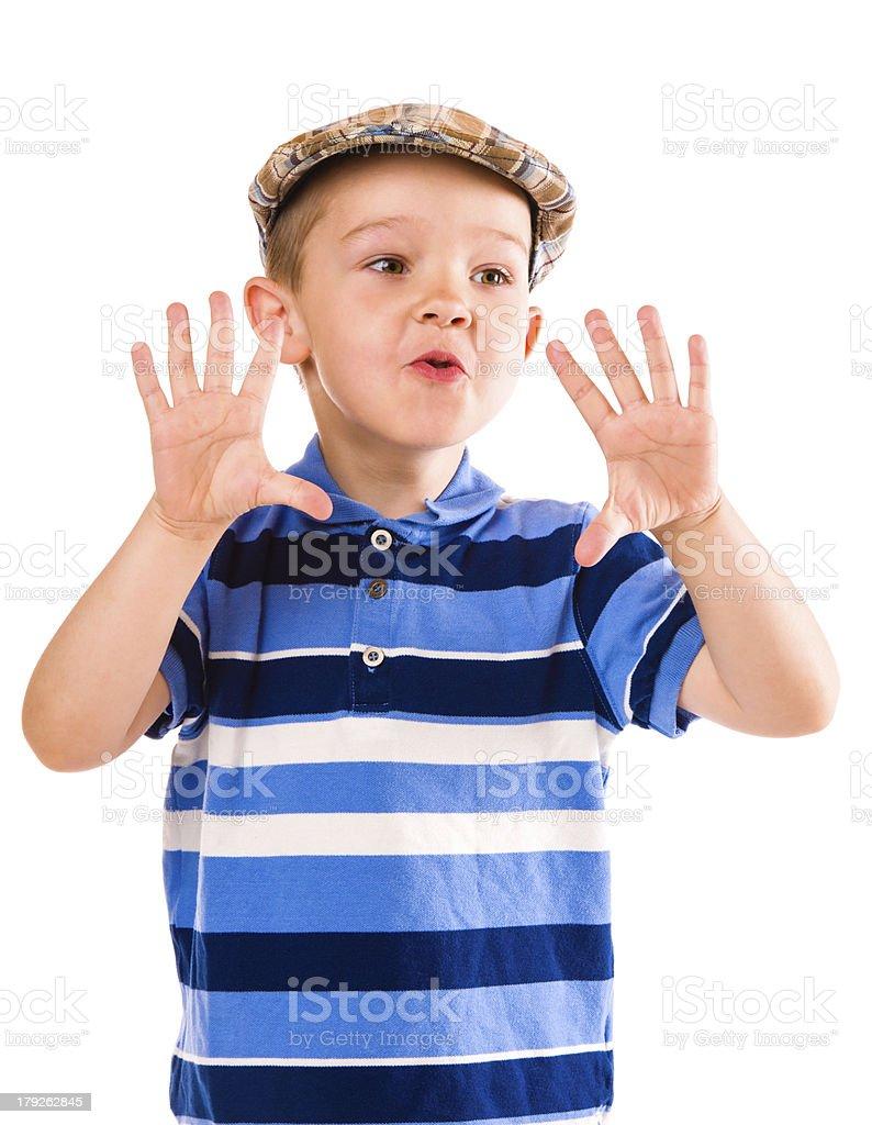 Boy and cloth cap royalty-free stock photo