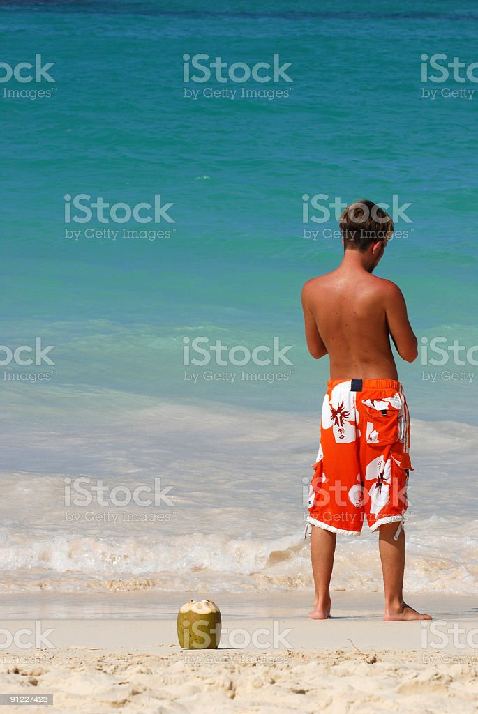 boy and coconut royalty-free stock photo