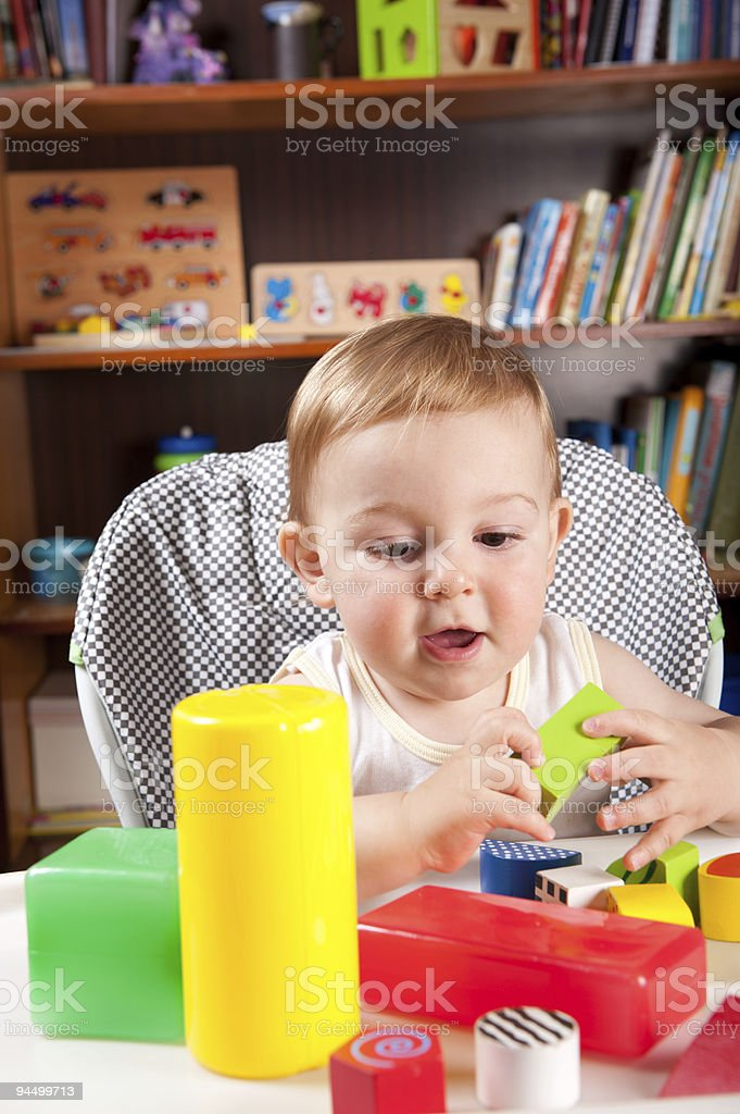 Boy and colorful blocks stock photo