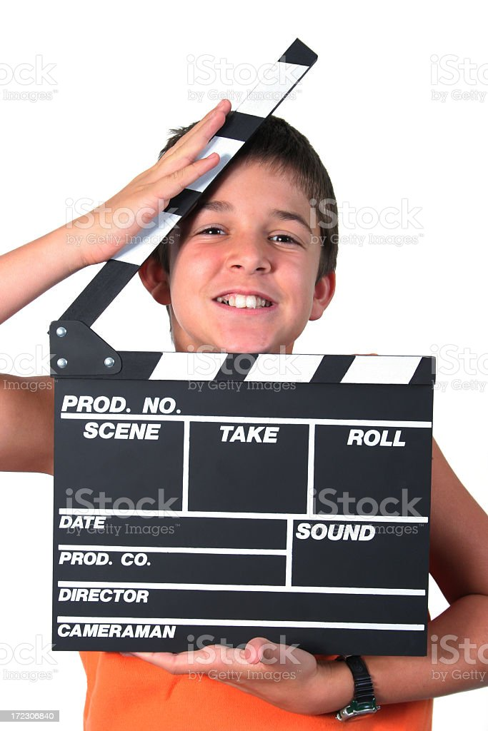Boy and film slate stock photo