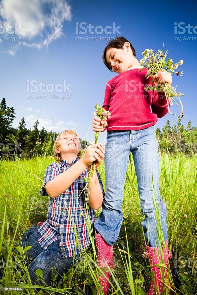 Boy and Girl First Love royalty-free stock photo