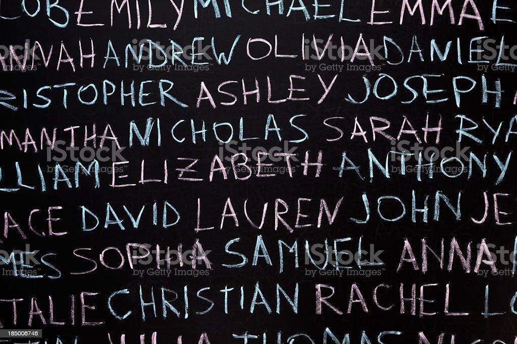 Boy and girl names over blackboard stock photo