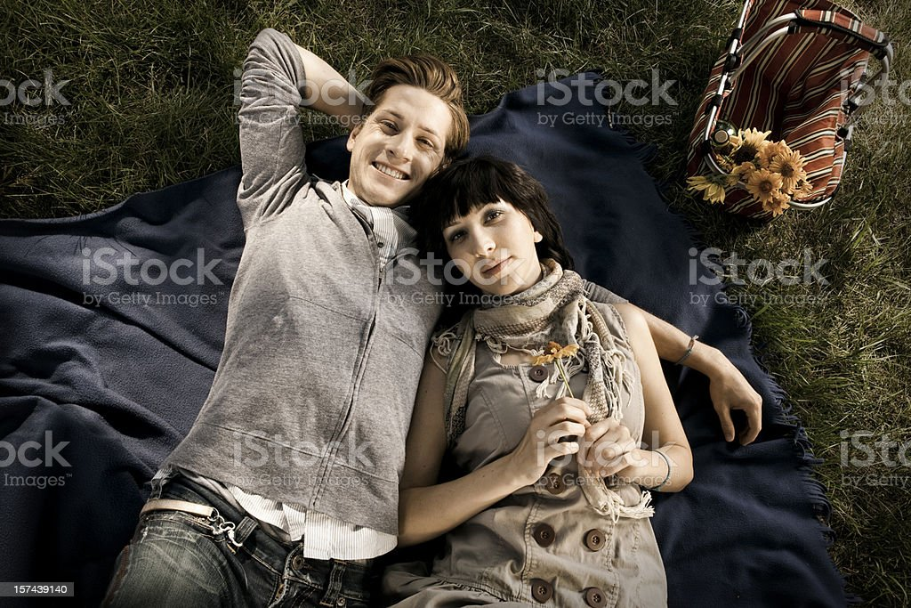 Boy and Girl on Romantic Picnic royalty-free stock photo