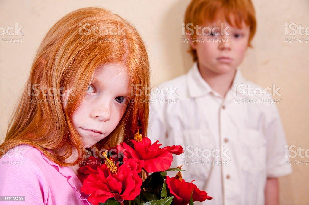 Boy and girl playacting. royalty-free stock photo