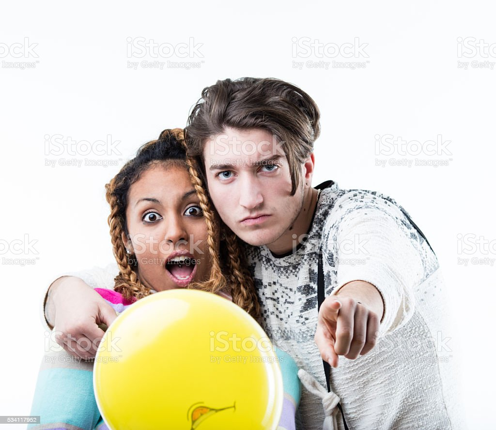 boy and girl posing during a party stock photo