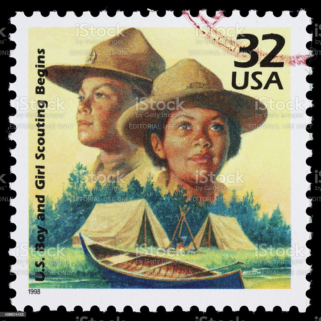 USA Boy and Girl Scouts postage stamp stock photo