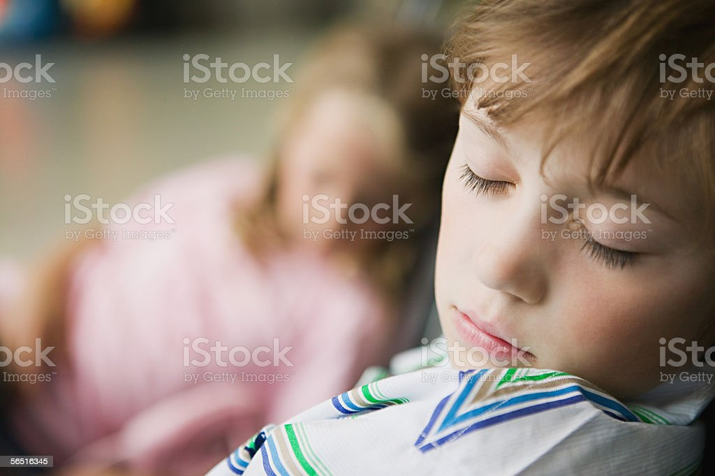 Boy and girl sleeping royalty-free stock photo