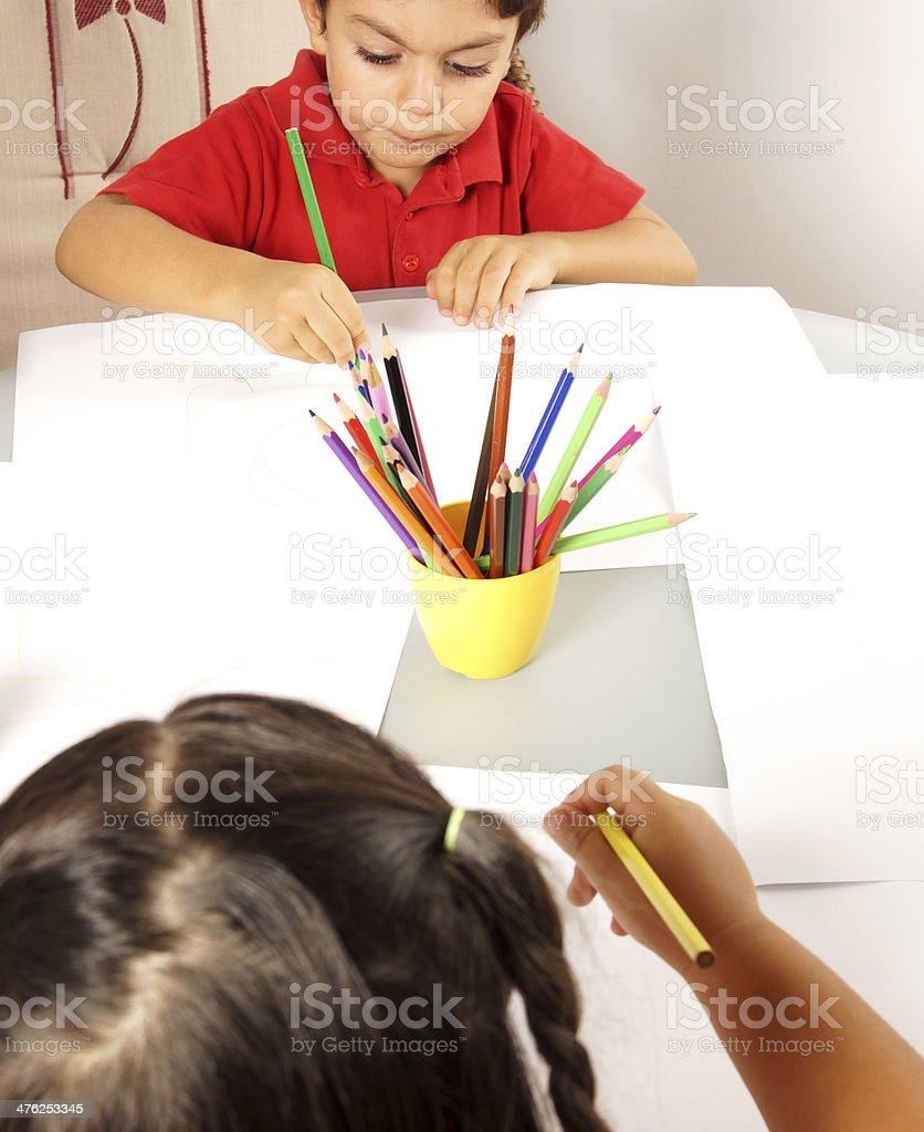 Boy and girl writing royalty-free stock photo