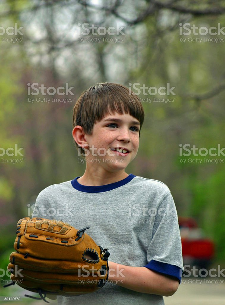 Boy and Glove royalty-free stock photo