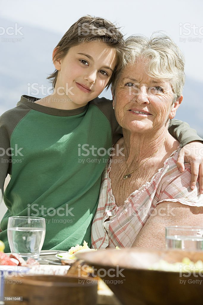 Boy and grandmother royalty-free stock photo