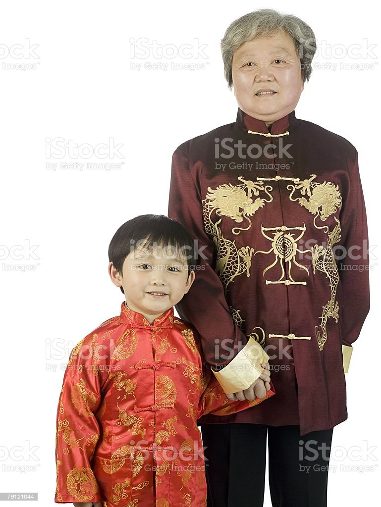 Boy and grandmother stock photo