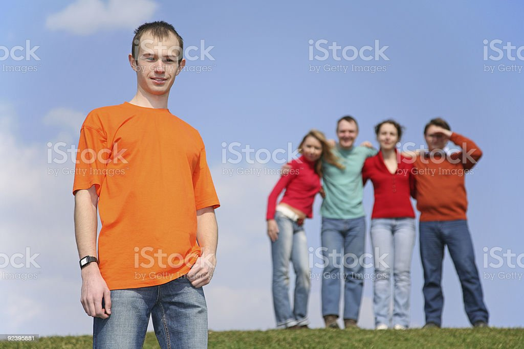 boy and group of friends royalty-free stock photo