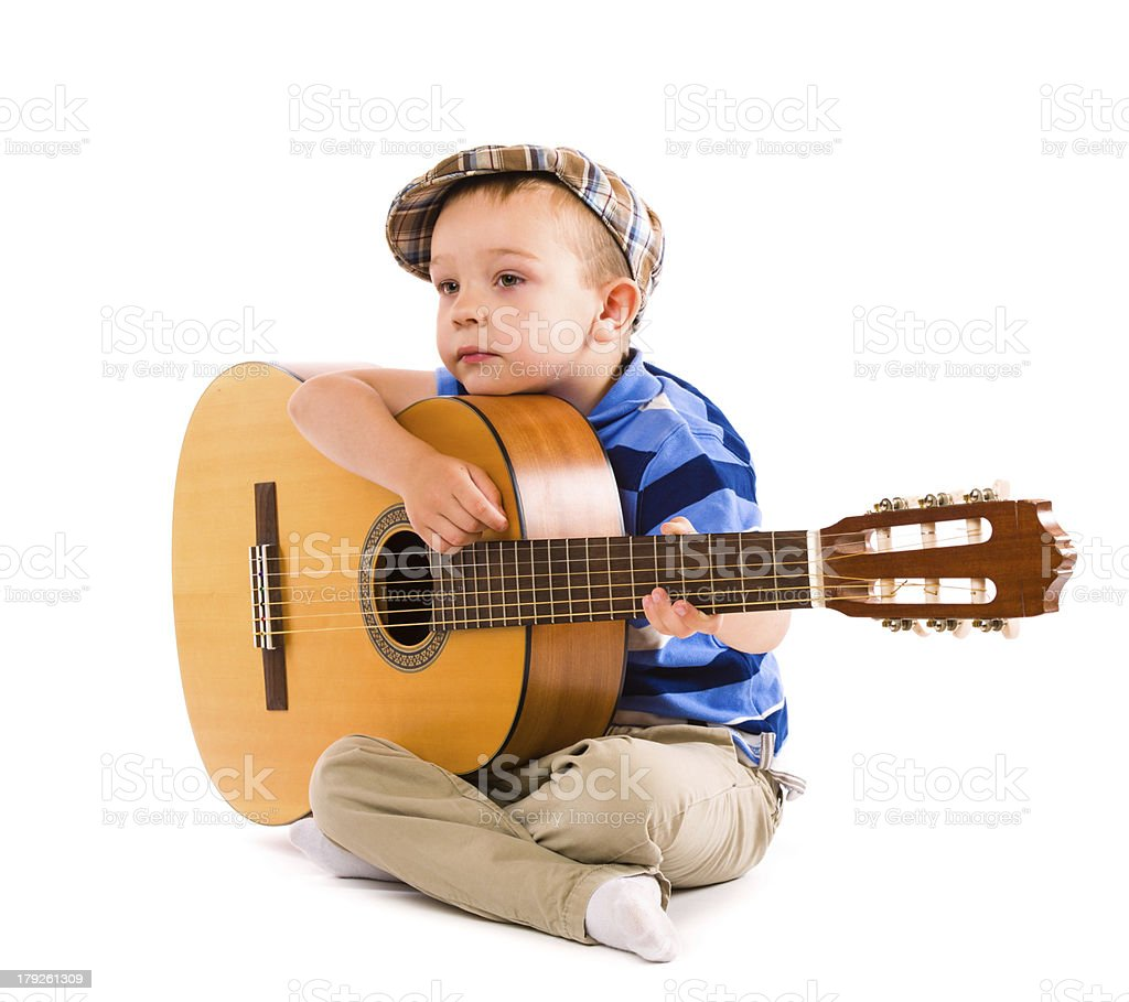 Boy and guitar royalty-free stock photo