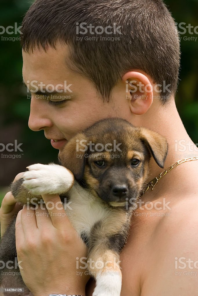 Boy and he's dog royalty-free stock photo