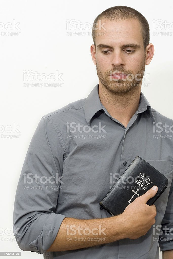 Boy and His Bible stock photo