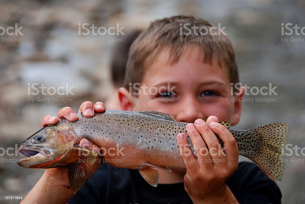Boy and His Fish stock photo