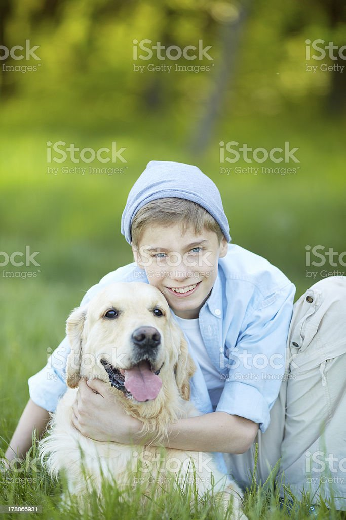 Boy and his friend royalty-free stock photo